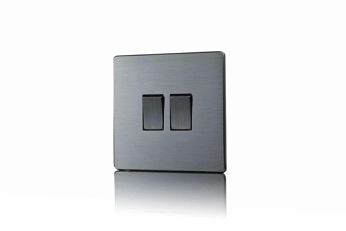 Premspec 2G 2W 10AX Switch Screwless In Satin Nickel