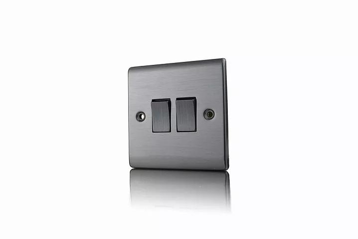 Premspec 2G 2W 10AX Switch Satin Nickel