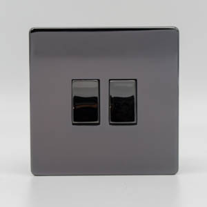 Premspec 2G 2W 10AX Switch Screwless Black Nickel Screwless In Black Nickel