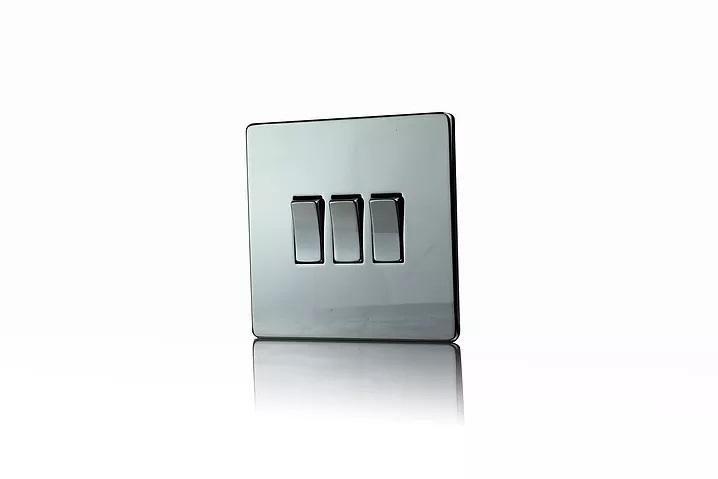 Premspec 3G 2W 10AX Switch Screwless In Black Nickel