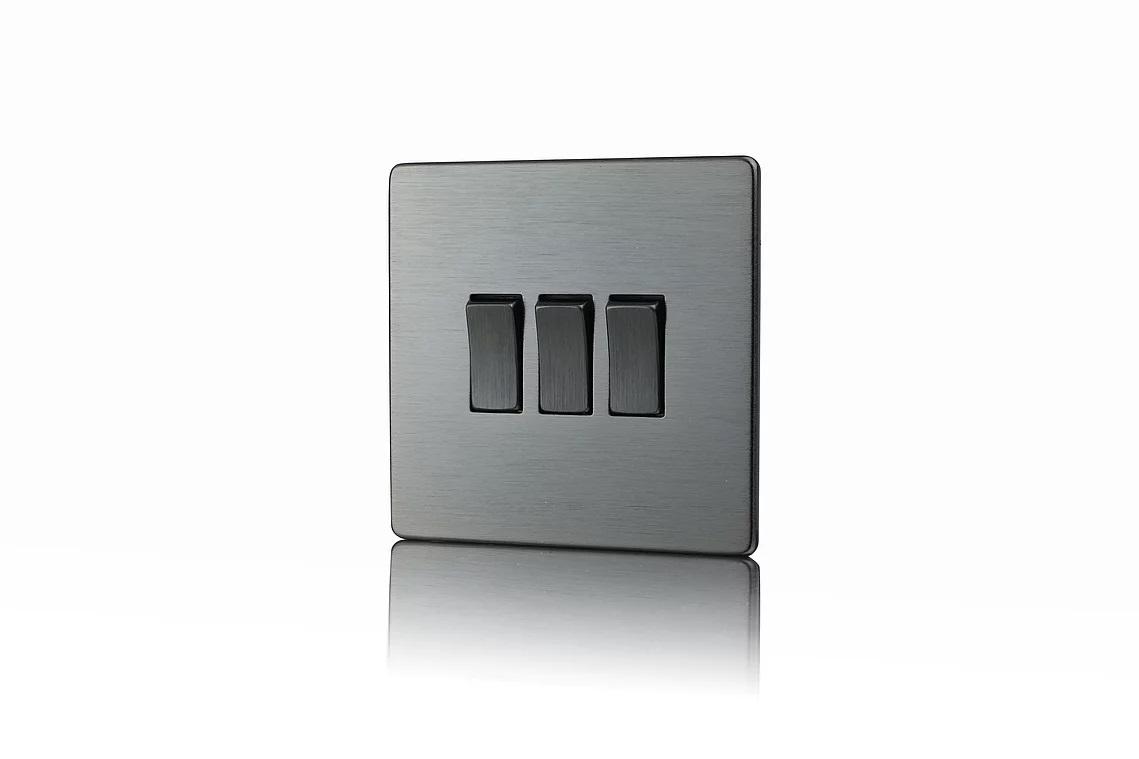 Premspec 3G 2W 10AX Switch Screwless In Satin Nickel