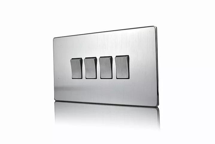 Premspec 4G 2W 10AX Switch Screwless In Satin Chrome