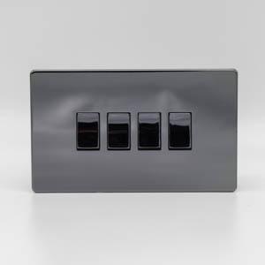Premspec 4G 2W 10AX Switch Screwless Black Nickel Screwless In Black Nickel