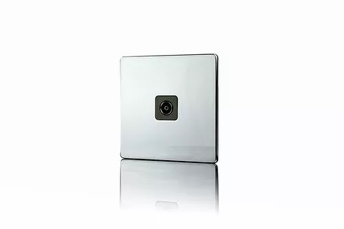 Premspec 1G Co-axial Socket Screwless Polished Chrome with Black Insert