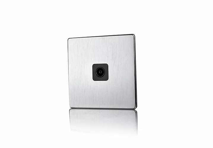 Premspec 1G Co-axial Socket Screwless Satin Steel with Black Insert