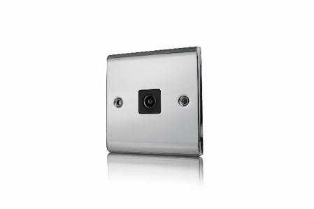 Premspec 1G Co-axial Socket Polished Chrome Black Insert