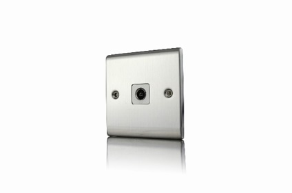 Premspec 1G Co-axial Socket Satin Steel