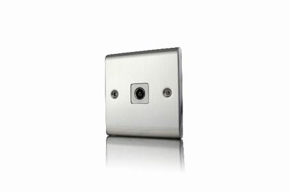 Premspec 1G Co-axial Socket Satin Steel White Insert