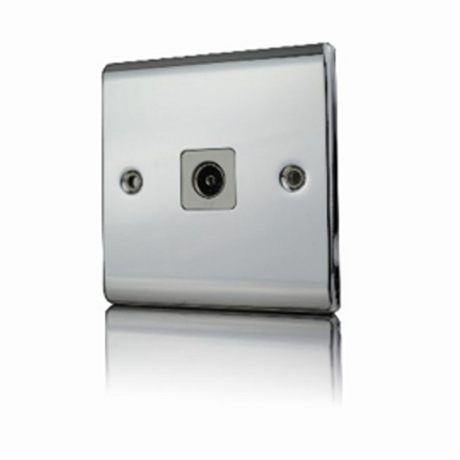 Premspec 1G Co-axial Socket Polished Chrome White Insert