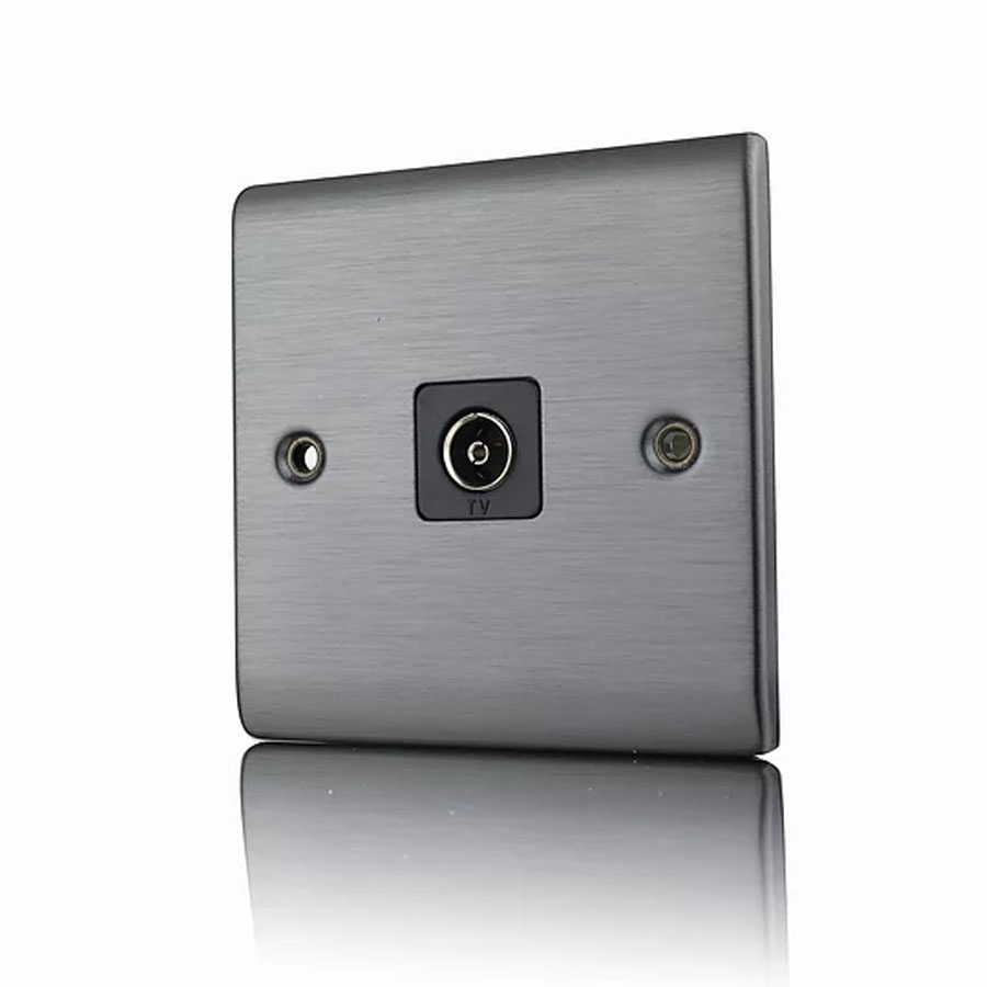 Premspec 1G Co-axial Socket Satin Nickel