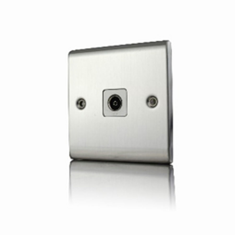 Premspec 1G Co-axial Socket Satin Steel White Insert