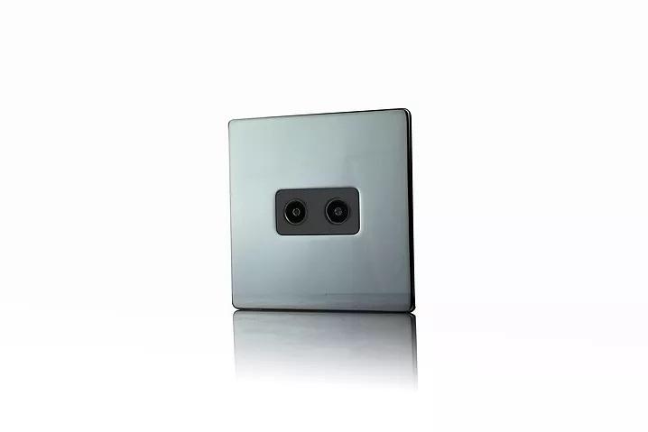 Premspec 2G Co-axial Socket Screwless Black Nickel