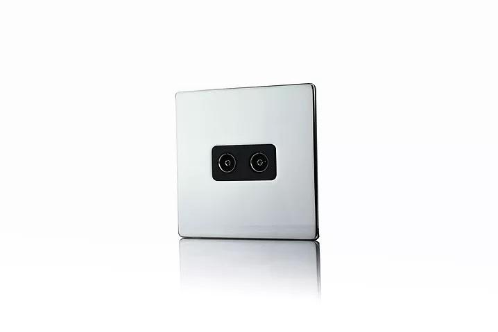 Premspec 2G Co-axial Socket Screwless Polished Chrome Black Insert