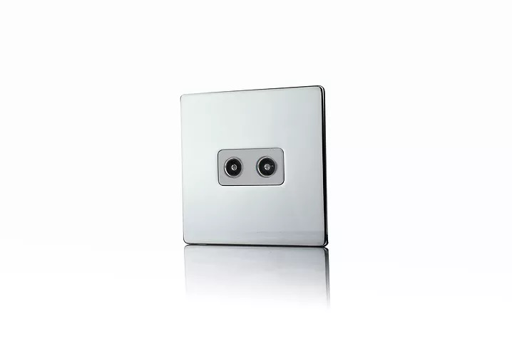 Premspec 2G Co-axial Socket Screwless Polished Chrome White Insert