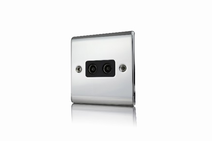 Premspec 2G Co-axial Socket Polished Chrome with Black Insert