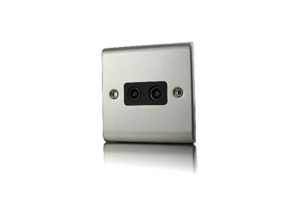 Premspec 2G Co-axial Socket Satin Steel Black Insert