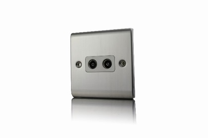 Premspec 2G Co-axial Socket Satin Steel White Insert