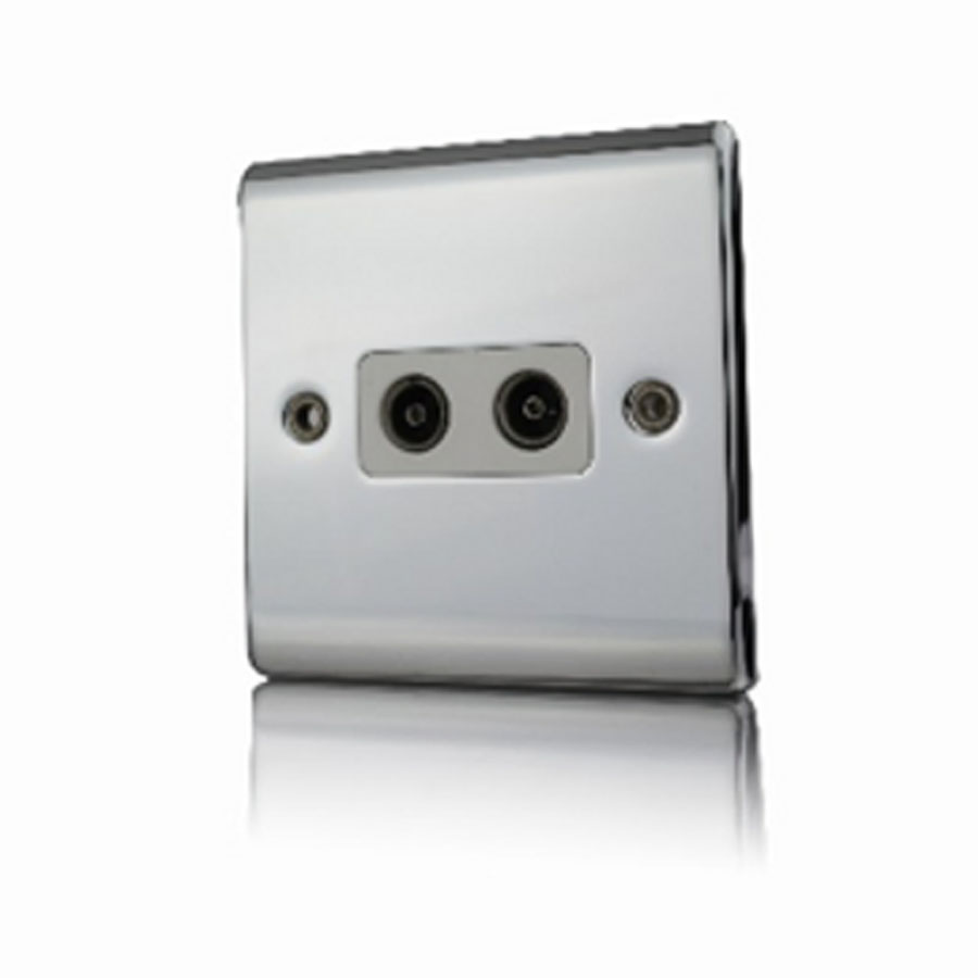 Premspec 2G Co-axial Socket Polished Chrome with White Insert
