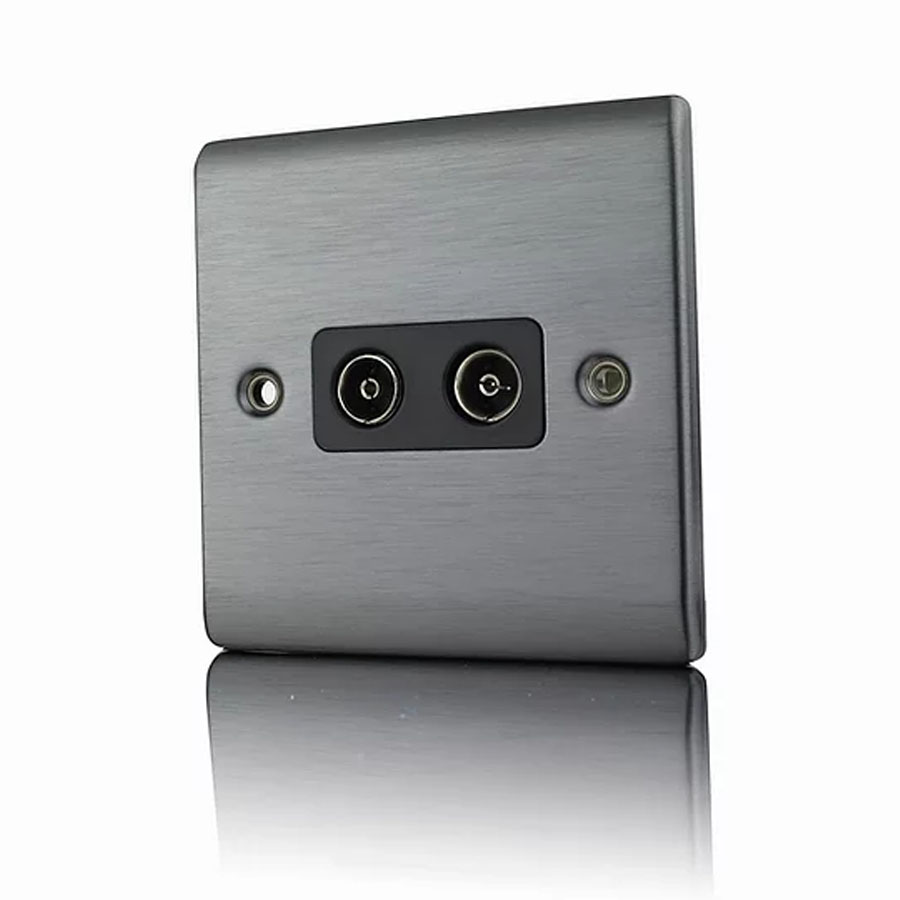 Premspec 2G Co-axial Socket Satin Nickel