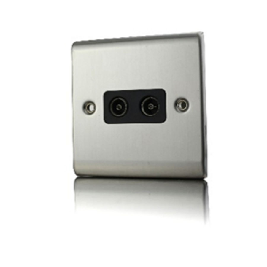 Premspec 2G Co-axial Socket Satin Steel with White Insert