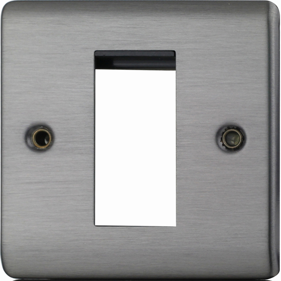 Premspec 1 Module Plate + Earth Satin Nickel