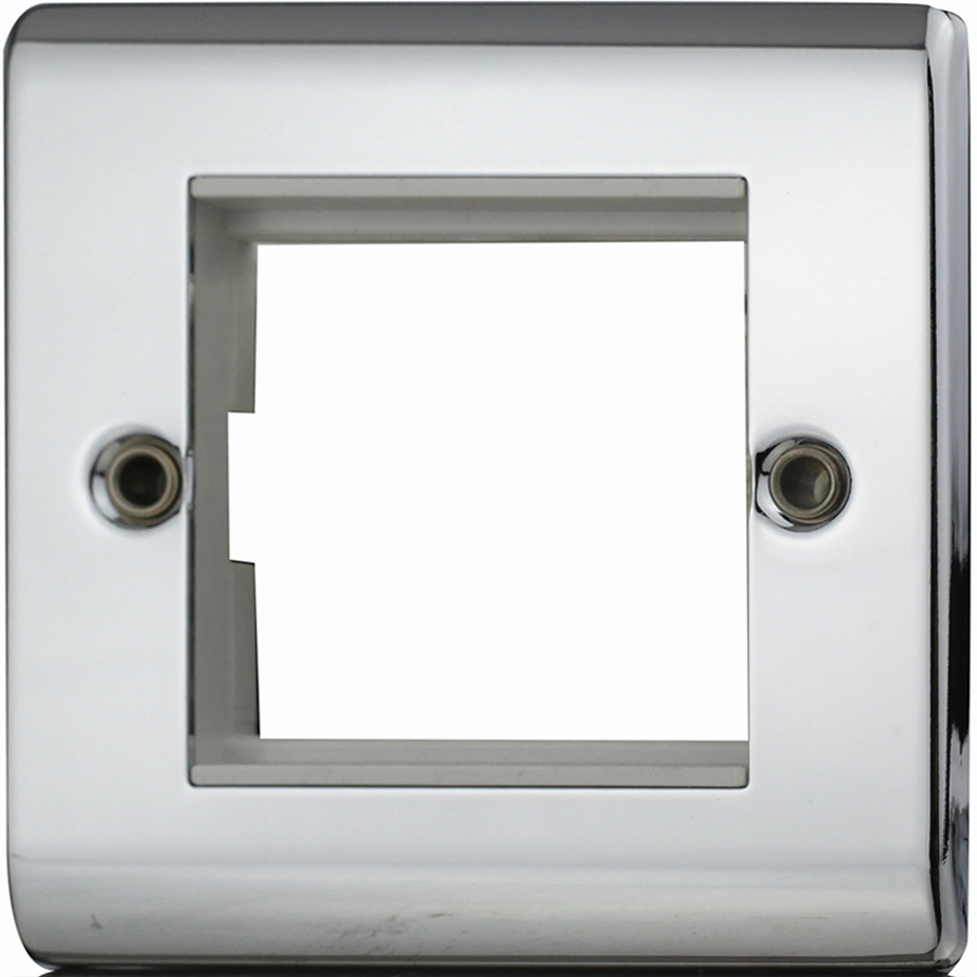 2 Gang Euro module plate Polished Chrome with White Insert