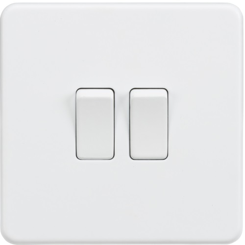 Screwless 10AX 2G 2-Way Switch - Matt White