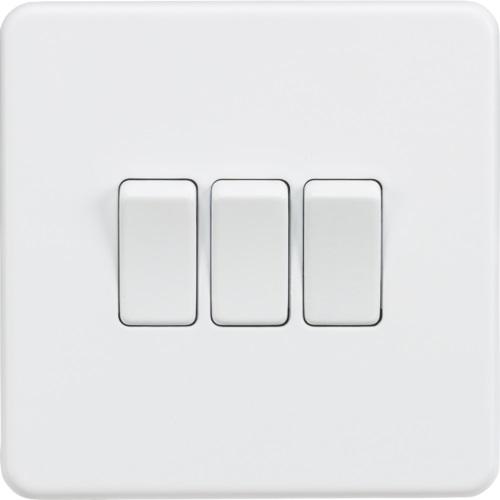 Screwless 10AX 3G 2-Way Switch - Matt White