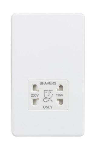 Screwless 115/230V Dual Voltage Shaver Socket - Matt White
