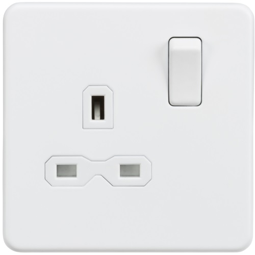 Screwless 13A 1G DP switched socket - Matt white with white insert