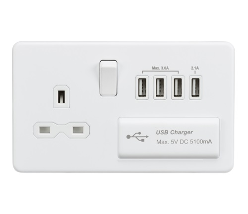 Screwless 13A switched socket with quad USB charger (5.1A) - matt white