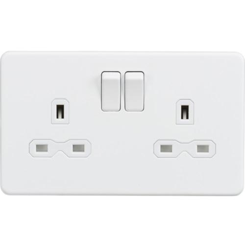 Screwless 13A 2G DP switched socket - Matt white