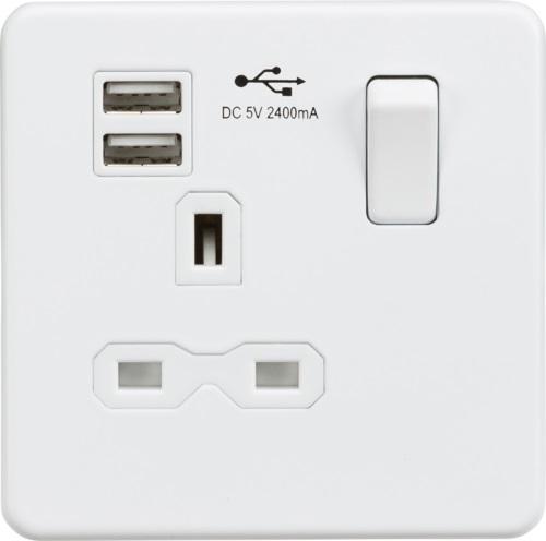 Screwless 13A socket, USB chargers (2.4A) and Bluetooth Speaker - Matt white