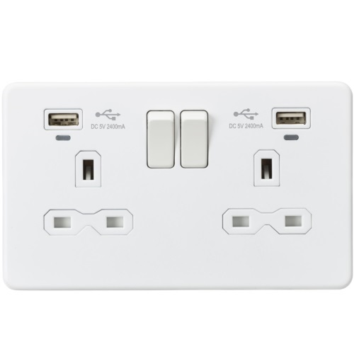 13A 2G Switched Socket, Dual USB (2.4A) with LED Charge Indicators - Matt White