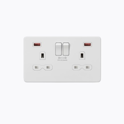 13A 2G DP Switched Socket with Dual USB FASTCHARGE ports (A + A) - Matt White