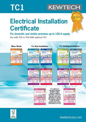 KEWTECH TC1 Electrical Installation Certificate for up to 100A Supply