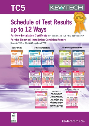 KEWTECH TC5 Schedule of Test results 12 Ways