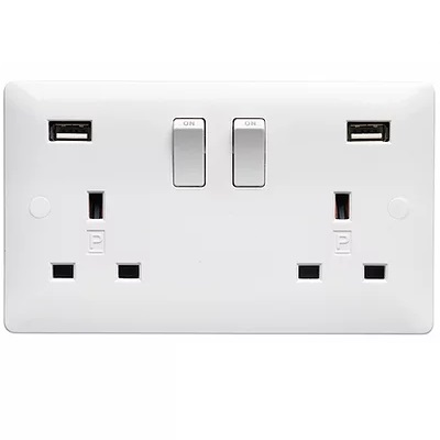 Verso 2G 13A DP USB SWITCHED SOCKET