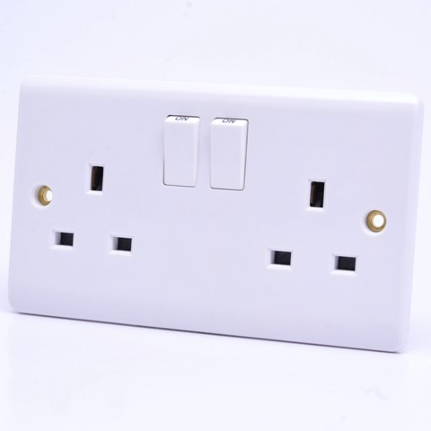Premspec 2G 13A Double Pole Switched Socket White
