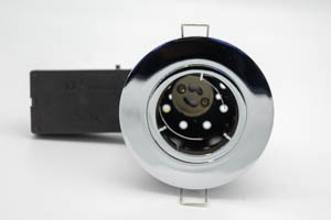 Die Cast Aluminium Fire-Rated GU10 Fixed Downlight (Polished Chrome) with QuickBlock